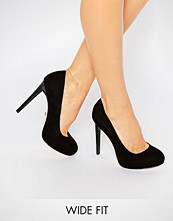 Faith Wide Fit Cadles Black Platform Court Shoes