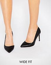 Faith Wide Fit Cliff Black Cut Out Court Shoes