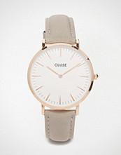 Cluse La Boheme Rose Gold & Grey Leather Watch CL18015