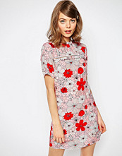 ASOS Shift Dress In Poppy Floral Print With Ladder Trim