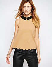 Daisy Street Top With Scalloped Hem And Collar