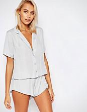 ASOS Miley Satin Piped Pyjama Top & Short Set