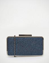 Nali Glitter Effect Blue Metal Edge Box Clutch Bag