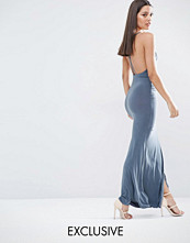 Club L Slinky Wrap Over Maxi Dress with Cross Back