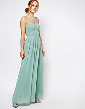Little Mistress Gathered Maxi Dress with Diamante Trim