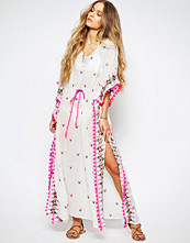 Maison Scotch Kaftan Maxi Dress with Embroidery and Tassles