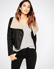 ASOS Faux Leather Biker Jacket with Borg Waterfall