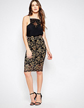 Ganni Christy Lace Midi Skirt in Black and Gold