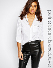 Noisy May Petite White Shirt with Zip Pocket
