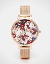 ASOS Rose Gold Floral Printed Dial Mesh Strap Watch