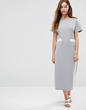 Shades Of Grey Belted Striped Midi Dress