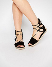 Boohoo Boutique Lace Up Suede Espadrille