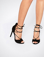 Boohoo Lace Up Peep Toe Heels