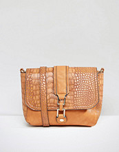 Liquorish Shoulder Bag With Mock Croc Panel
