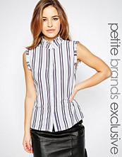 Alter Petite Frill Trim Striped Sleeveless Shirt