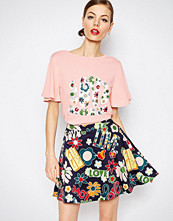 Love Moschino Floral Love Woven Sleeve T-Shirt