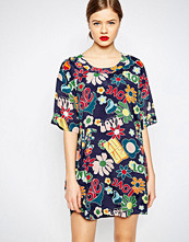 Love Moschino Hippie Love Print Woven Shift Dress