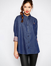Love Moschino Denim Dot Oversize Shirt