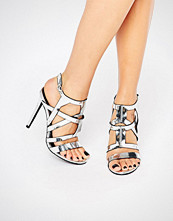 Missguided Metallic Caged Heeled Sandal