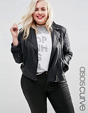 ASOS Curve Ultimate Faux Leather Biker Jacket with Piped Detail