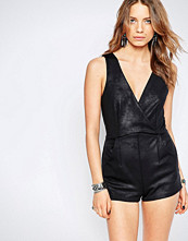 Free People Black Moonlight Faux Leather Playsuit
