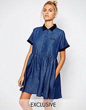 Lazy Oaf Button Front Tea Dress In Denim With Baby Embroidery