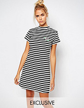 Lazy Oaf Striped Bodycon Dress With Small Rose Embroidery