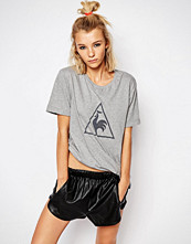 Le Coq Sportif Grey Oversized Boyfriend T-Shirt With Large Logo