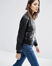 ASOS Faux Leather Cropped Bomber Jacket