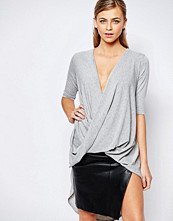 Boohoo Draped Dipped Hem Top