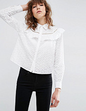 ASOS Broderie Shirt With Ruffle Detail
