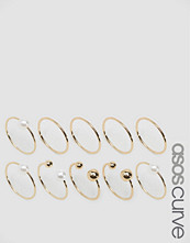 ASOS Curve Pack of 10 Faux Pearl Open & Mixed Rings