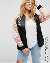 ASOS Curve Premium Bomber Jacket with Floral Embroidery
