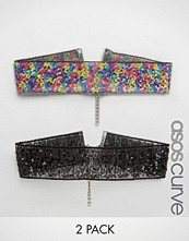 ASOS Curve Pack of 2 Confetti Sequin Chokers