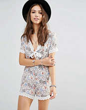 Young Bohemians Playsuit With Tie Front And Lace Trim Hems