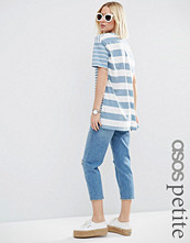 ASOS Petite V-Neck Tunic In Blocked Washed Stripe