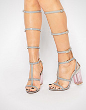 Public Desire Hattie Grey Clear Heel Caged Gladiator Heeled Sandal
