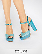 Terry de Havilland Coco Blue Glitter Platform Heeled Sandals