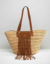 Pimkie Woven Straw Bag With Tassle