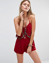 Kiss The Sky Cami Playsuit With Coin Tassles