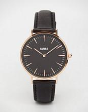 Cluse La Boheme Rose Gold Black Leather Watch CL18001