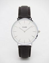 Cluse La Boheme Silver Black Leather Watch CL18208