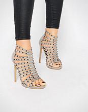 Glamorous Grey Studded Caged Heeled Sandals