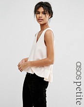 ASOS Petite Dip Hem Ruffle Vest With Raw Edge