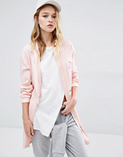 Daisy Street Longline Military Bomber With Pockets in Blush