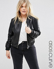 ASOS Curve Bomber Jacket In Leather Look