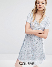 Reclaimed Vintage Button Front Dress In Muted Print