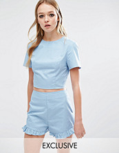 Reclaimed Vintage Crop T-Shirt In Blue Ditsy Spot Co-Ord