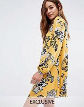 Reclaimed Vintage Open Back Swing Dress In Sparse Floral Print