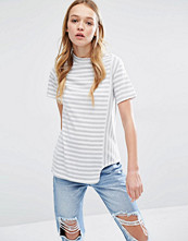 Daisy Street Asymmetric Short Sleeve Stripe Top
